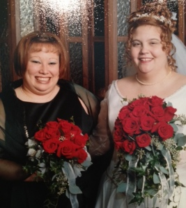Anissa's on the left, I'm on the right. 2001 wedding fashions FTW.